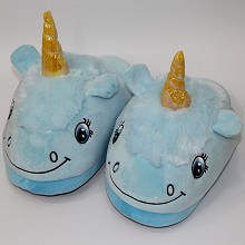 Unicorn plush slippers shoes a pair