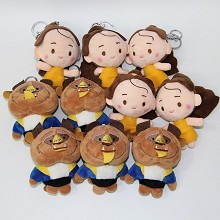 4.8inches Beauty and the Beast anime plush dolls set(10pcs a set)