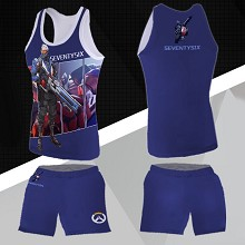 Overwatch soldier 76 vest+short pants a set