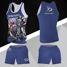 Overwatch Reinhardt Wilhelm vest+short pants a set