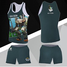 Overwatch Bastion vest+short pants a set