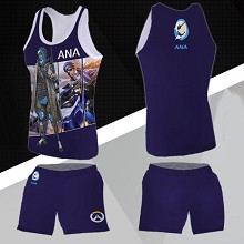 Overwatch Ana Amari vest+short pants a set