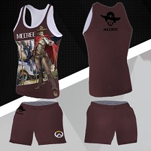 Overwatch Jesse·Mccree vest+short pants a set
