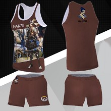 Overwatch Hanzou vest+short pants a set