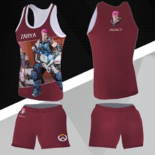Overwatch Zarya vest+short pants a set