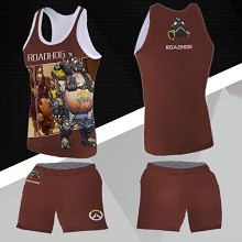 Overwatch ROADHOG vest+short pants a set