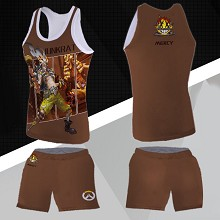 Overwatch JunkRat vest+short pants a set