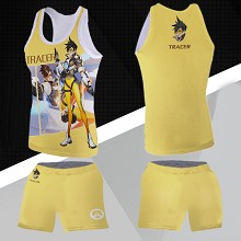 Overwatch Tracer vest+short pants a set