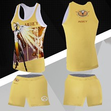 Overwatch Mercy vest+short pants a set