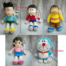 14inches Doraemon plush dolls set(5pcs a set)