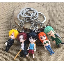 One Piece anime figure doll key chains set(5pcs a set)
