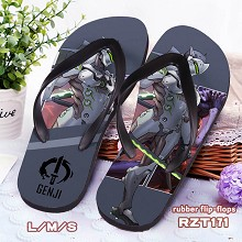 Overwatch Genji rubber flip-flops shoes slippers a pair