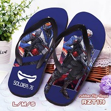 Overwatch Soldier:76 rubber flip-flops shoes slippers a pair