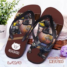 Overwatch Roadhog rubber flip-flops shoes slippers a pair
