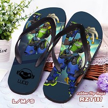 Overwatch Lucio rubber flip-flops shoes slippers a...