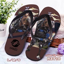 Overwatch Hanzo rubber flip-flops shoes slippers a...