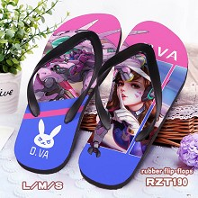 Overwatch D.VA rubber flip-flops shoes slippers a ...