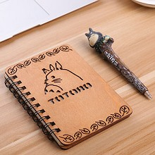 Totoro anime retro wooden notebook