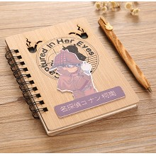 Detective conan anime retro wooden notebook