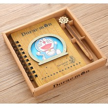 Doraemon anime retro wooden notebook