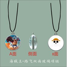 One Piece Luffy anime two-sided necklace