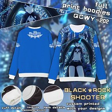 Black rock Shooter anime full print hoodies