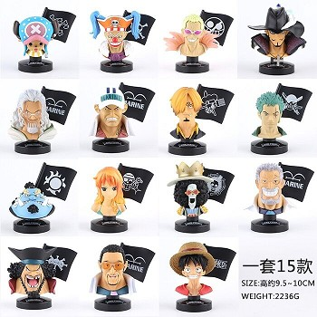 One Piece head anime figures set(15pcs a set)