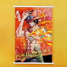 One Piece ACE anime wall scroll