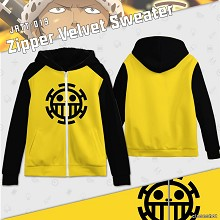 One Piece zipper velvet sweater hoodie