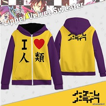 No game no life zipper velvet sweater hoodie