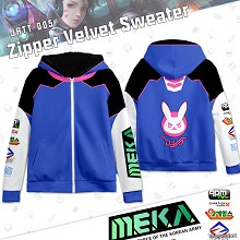 Overwatch D.va zipper velvet sweater hoodie