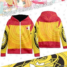Card Captor Sakura zipper velvet sweater hoodie