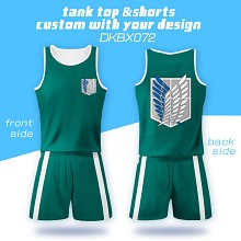Attack on Titan anime vest+short pants a set