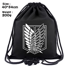 Attack on Titan anime drawstring backpack bag