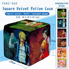 One Piece anime square velvet pillow