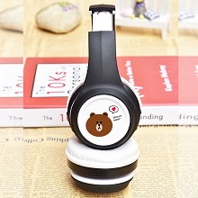 Brown bear anime wireless bluetooth headset headph...