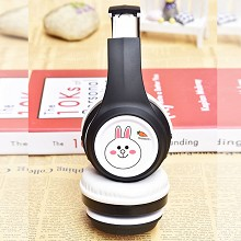 The rabbit anime wireless bluetooth headset headph...