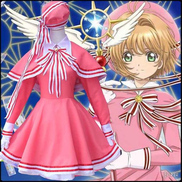 Card Captor Sakura Anime Cosplay Costume Cloth Dress A Set Card