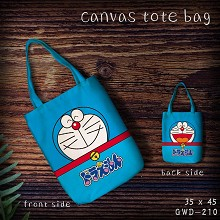 Doraemon anime canvas tote bag shopping bag