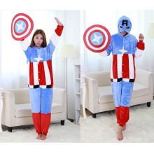 Captain America flano pajamas dress hoodie