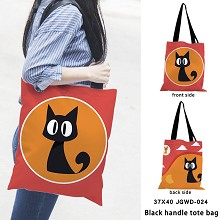 Black cat anime black handle tote bag shipping bag