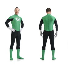 Green Lantern Captain America cosplay tight suit c...