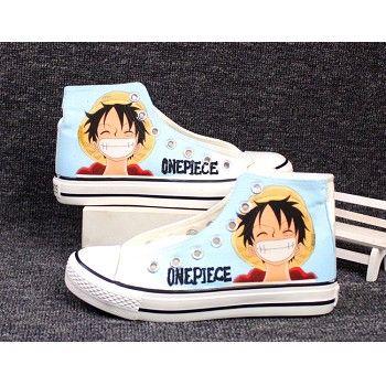 One Piece Luffy anime canvas shoes student plimsolls a pair