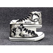 One Piece Luffy+Ace anime canvas shoes student plimsolls a pair