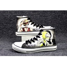 One Piece Luffy+Sanji anime canvas shoes student plimsolls a pair