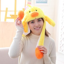 Cute Yellow duck Plush Hat Ear Shape Can Move Cap Plush Gift Dance Toy Velvet