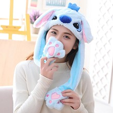 Cute Stitch Plush Hat Ear Shape Can Move Cap Plush Gift Dance Toy Velvet