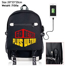 My Hero Academia anime USB charging laptop backpack school bag