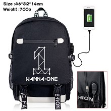 WANNA-ONE star USB charging laptop backpack school...