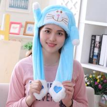 Doraemon Plush Hat Ear Shape Can Move Cap Plush Gi...